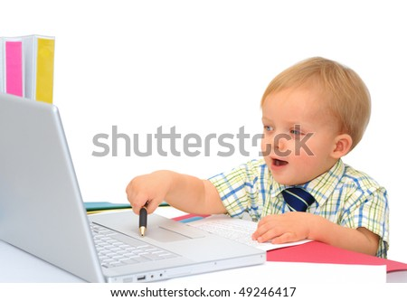 Happy little businessman with laptop