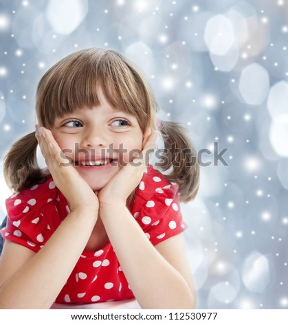 happy little girl at the christmastime - stock photo