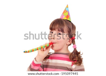 happy little girl birthday party on white - stock photo