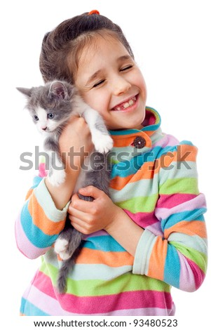 Happy little girl cuddle kitten, isolated on white