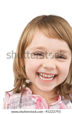Happy little girl  isolated on white.