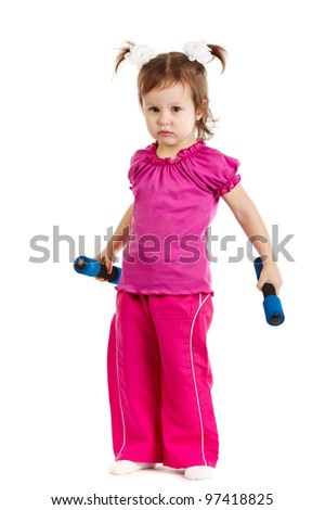 Happy little girl lifting dumbbells Isolated on white background