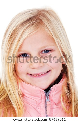 Happy little girl portrait in winter jacket - isolated on white background