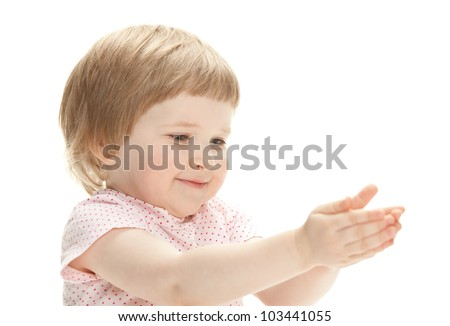 Happy little girl reaching her hands out, isolated on white