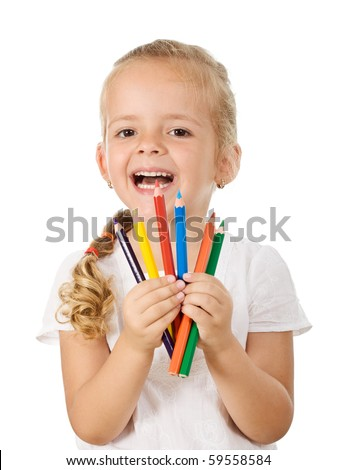 Happy little girl with colored pencils - isolated back to school theme