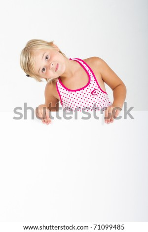 happy little girl with white board