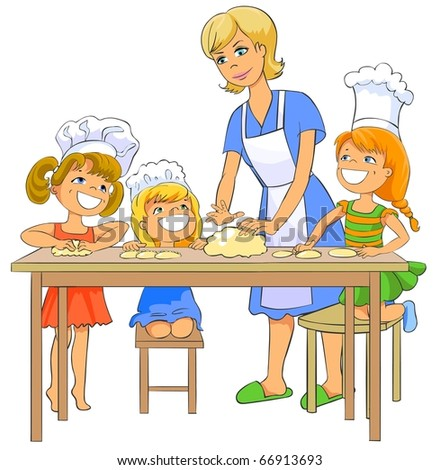 Happy little girls cooking patty of the dough with his mom.