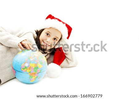 Happy little Santa with a globe. Isolated on white background