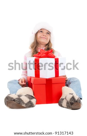 happy little teenage girl with gift box over white background