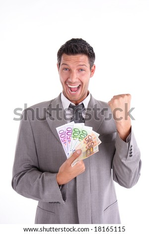 Happy lottery win man with euros