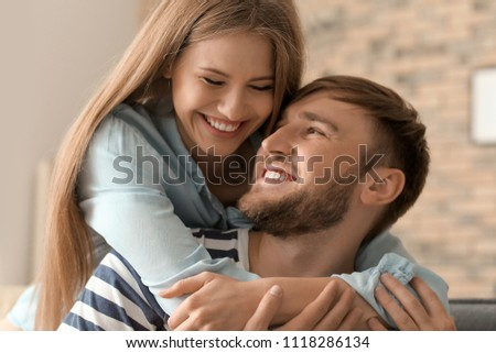 Happy loving couple at home #1118286134