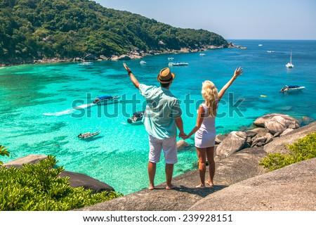 Happy Loving couple on a tropical beach against the sea Similan Island Foto stock ©
