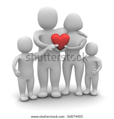 Happy loving family. 3d rendered illustration isolated on white.