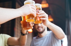 Happy male friends clinking with beer mugs in pub