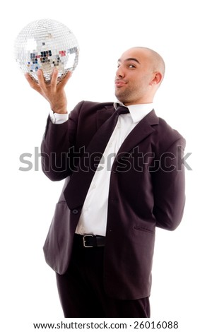 happy male holding shining disco ball with white background