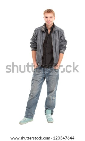 Happy male student smiling - isolated over a white background