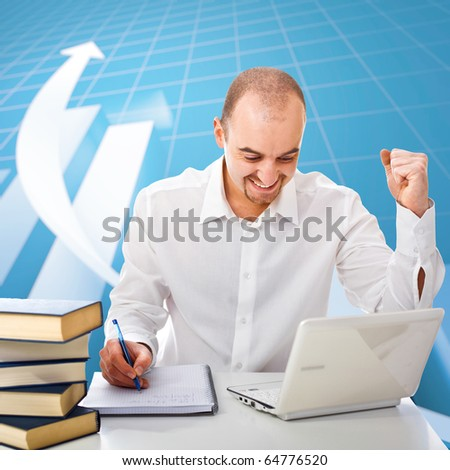 happy man and 3d financial graph stat business background