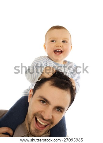 Happy man and his baby