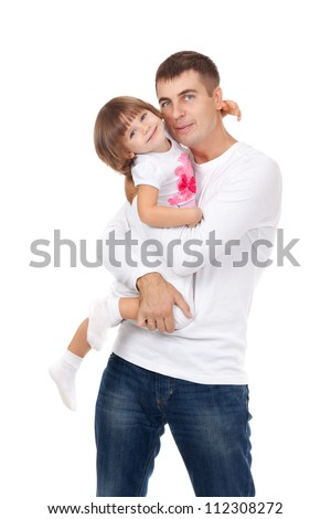 Happy man and his daughter. Isolated on white background. Studio shot