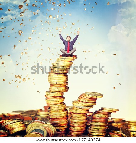 happy man and money rain