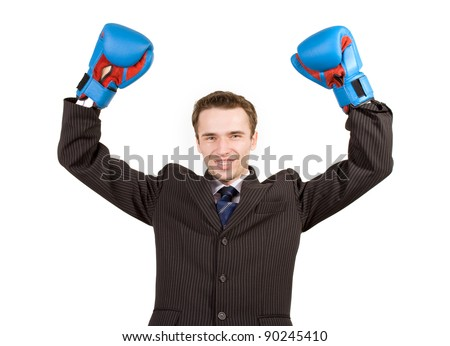 Happy man, businessman, elegance model , hands up with blue gloves in expression success gesture, business or political winner, office boxing, competition, studio shot, isolated on white background