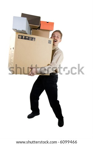 Happy man carring different size boxes