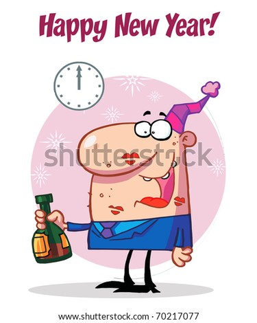Happy Man Celebrating Happy New Year
