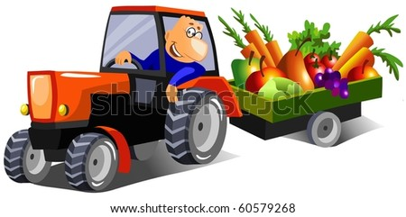 Happy man driving a tractor with a trailer full of fruits and vegetables after harvest.