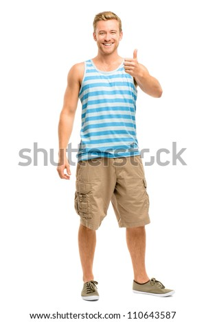Happy man giving thumbs up sign - full length portrait on white background - stock photo