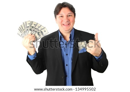 Happy man holding a lot of money
