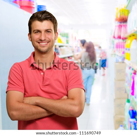 Happy Man In Supermarket, Indoors