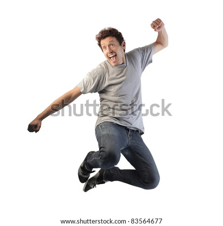 Happy man jumping #83564677