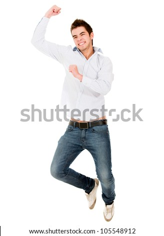 Happy man jumping from excitement - isolated over a white background