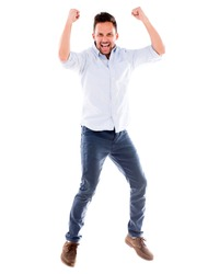 Happy man jumping from excitement - isolated over white background