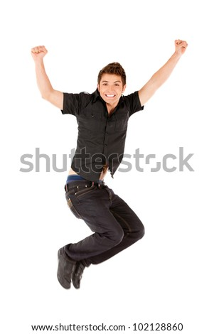 Happy man jumping - isolated over a white background