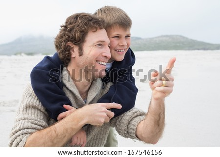 Happy man piggybacking his cheerful son at the beach