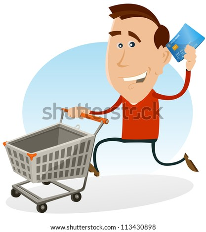 Happy Man Shopping With Credit Card/ Illustration of a cartoon happy man running and holding his credit card while pushing a rolling shopping cart at the mall market