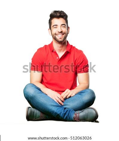 happy man sitting #512063026