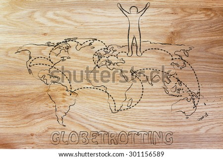 happy man standing on world map with travel itinerary