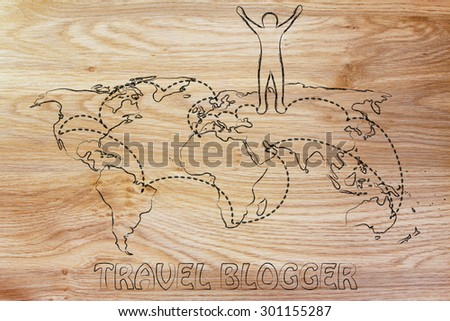 happy man standing on world map with travel itinerary, concept of travel blogging