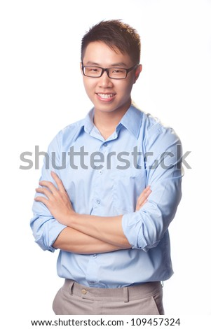 Happy man standing with arms crossed over white background