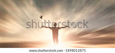 Happy man thinking felling ambitious empowerment energy vision on  background. Christian realization pray love freedom worship praise God. Strength courage self confidence good for yourself concept