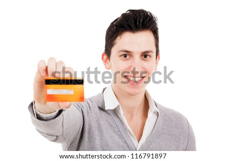 Happy man with credit card, isolated on white