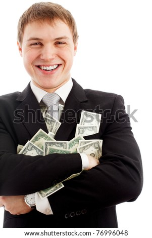 Happy man with dollars. Isolated over white.