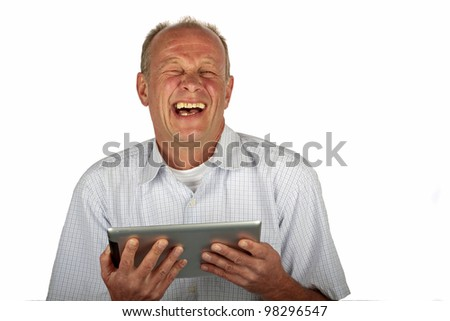 Happy man with his tablet computer on a white background