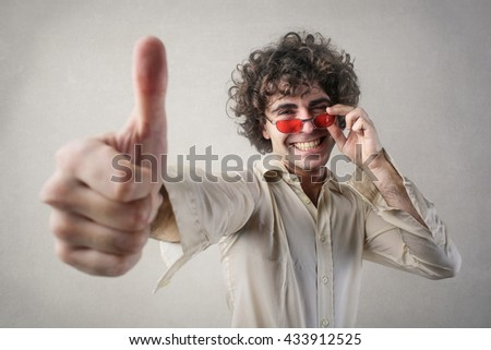 happy man with red sunglasses