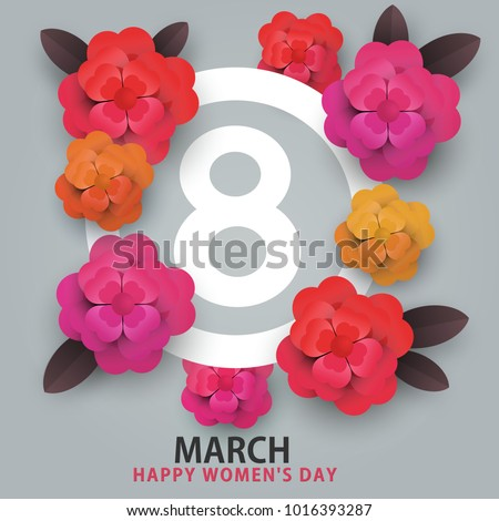 happy 8 march women's day. heart flowers and number 8 #1016393287