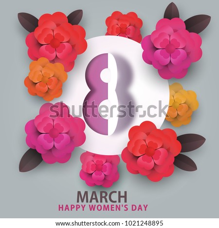happy 8 march women's day. heart flowers and number 8 #1021248895