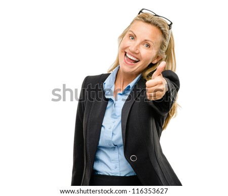 Happy mature business woman thumbs up isolated on white background