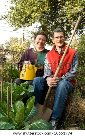 Happy mature couple in their vegetable garden